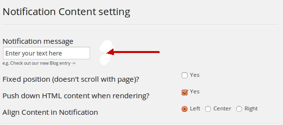 WPFront Notification bar settings