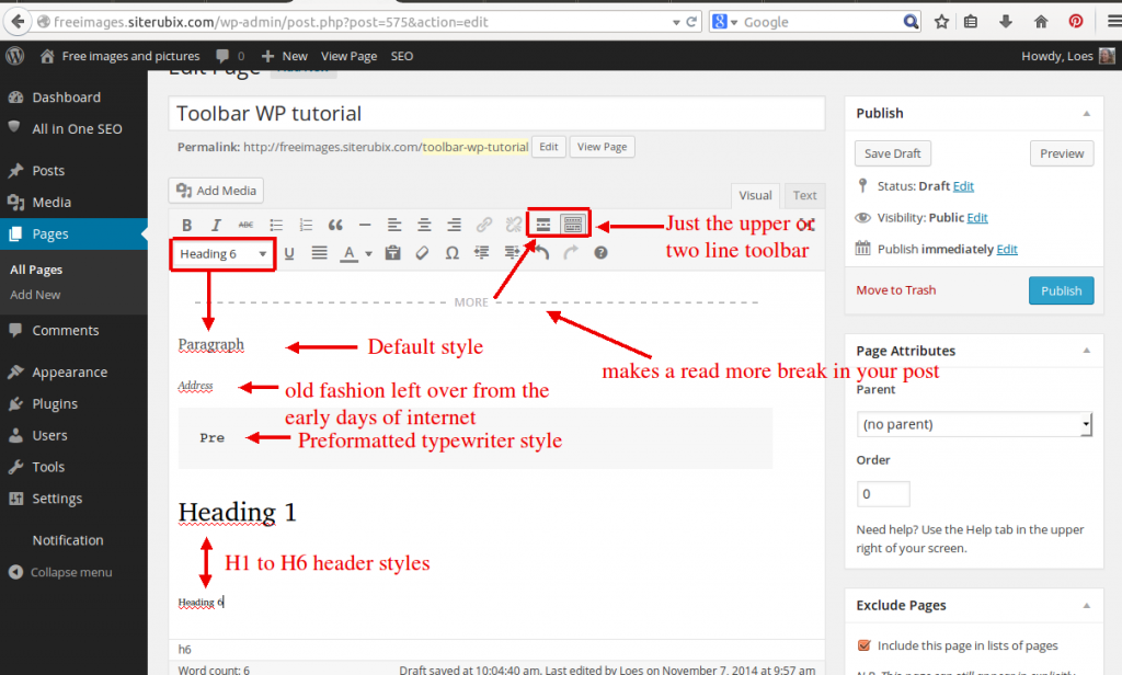 Wordpress toolbar lesson