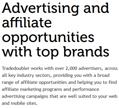 Tradedoubler affiliate marketing program