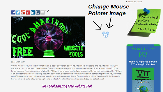 Change mouse pointer image