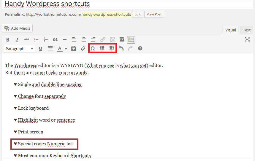 Handy WordPress shortcuts