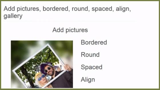 Align Images Side By Side, bordered, round, spaced HTML