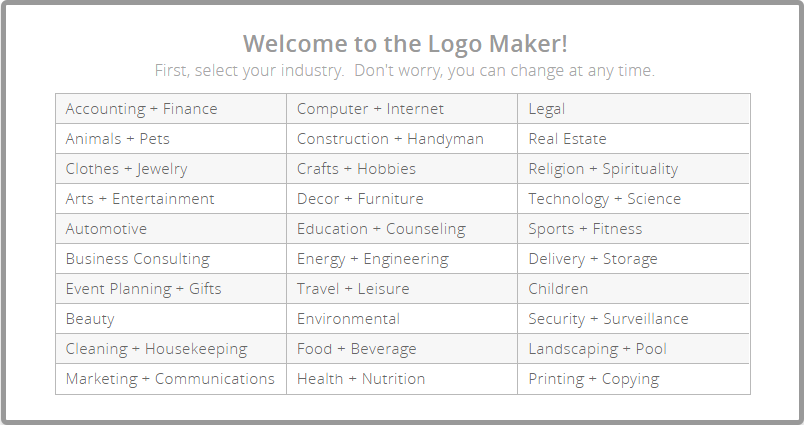 Logo Garden categories