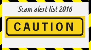 Scam alert list 2016