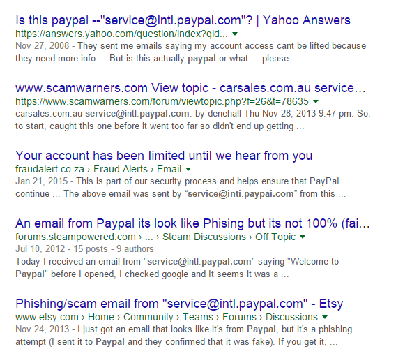 Paypal phishing email scam alert