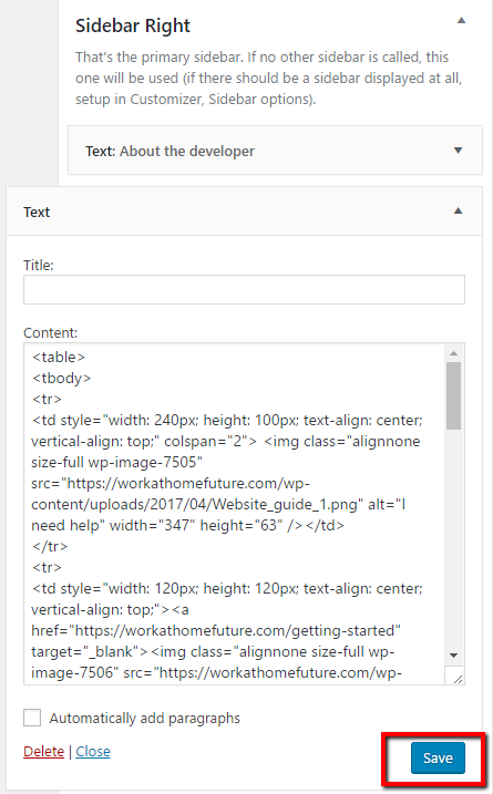 paste code into text widget