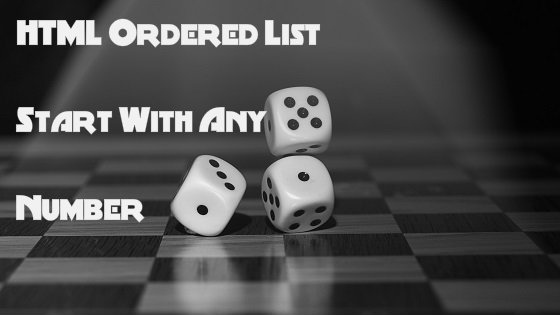 HTML Ordered List Start Number