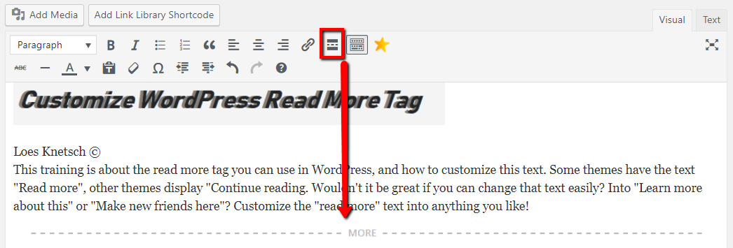How to add a read more tag WordPress