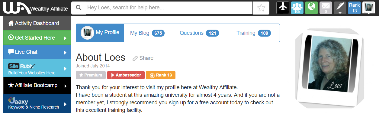 Users interface of Wealthy Affiliate visit my profile