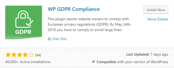 WP GDPR Compliance plugin