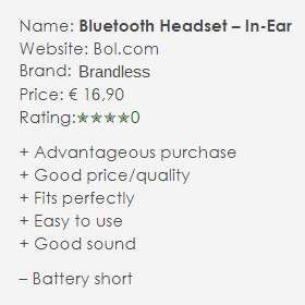 Bluetooth headset brandles in ear