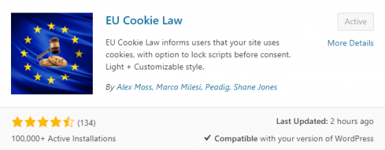 EU cookie law consent plugin