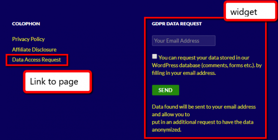 data request page widget