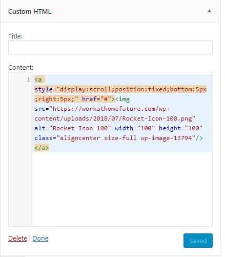Custom HTML widget code back to top button
