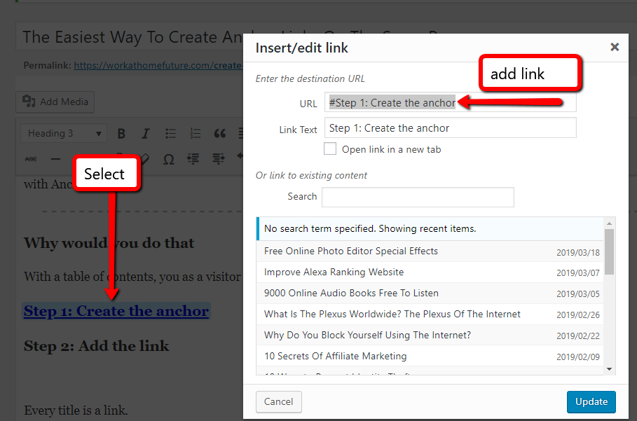 The Easiest Way To Create Anchor Links On The Same Page