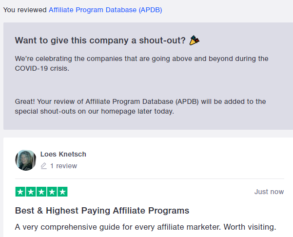 trust pilot review affiliate database