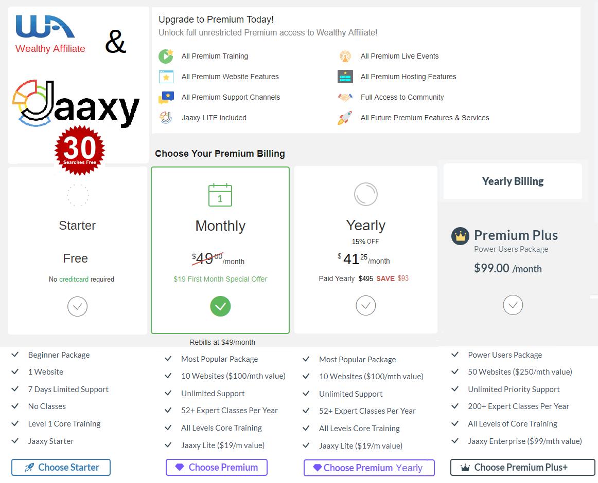 WA Membership-options-Wealthy-Affiliate-Jaaxy